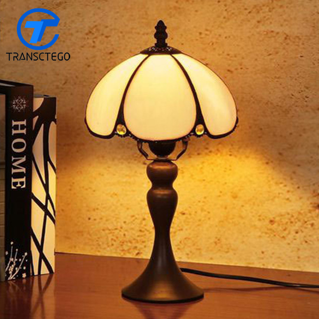 640x640 Hand Drawing Vintage Desk Lamp Bedside Glass Lampshade Table Lamp