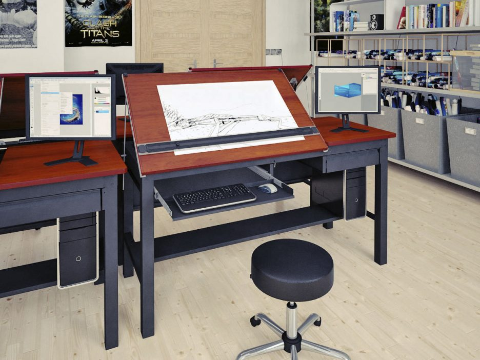 936x702 Awesome Black Wood Drafting Table Computer Desk With Right Side