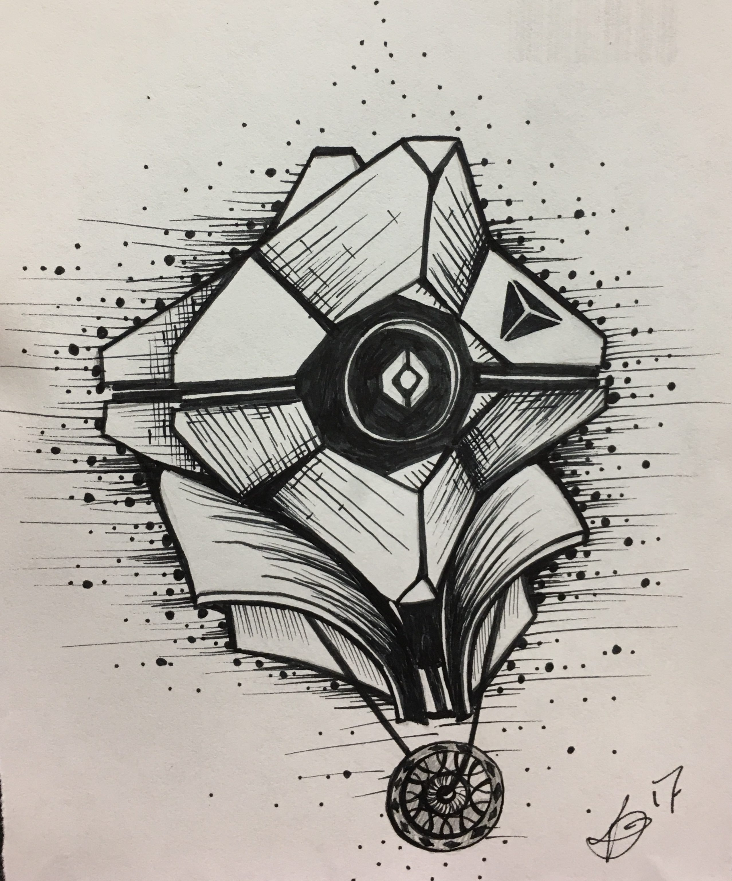 2555x3072 21 Destiny Ghost Drawing For Inktober!