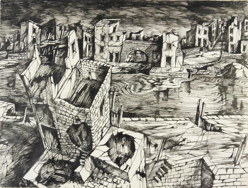 800x607 A Town Destroyed, Poplar John Minton Drawing Drawing