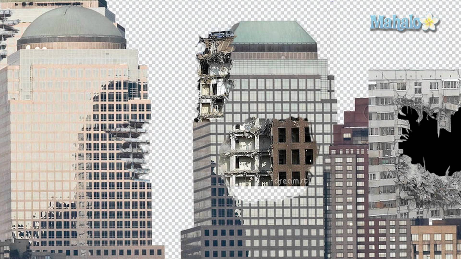 1920x1080 Destroyed Building Drawing