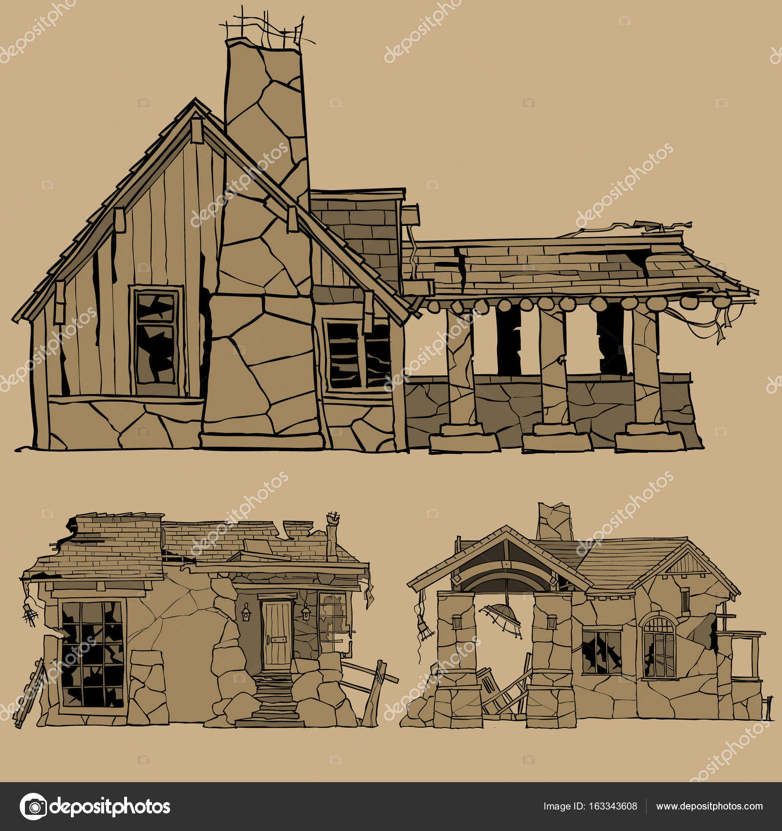 1600x1700 Painted Monochrome Sketches Of Destroyed Stone Houses Stock