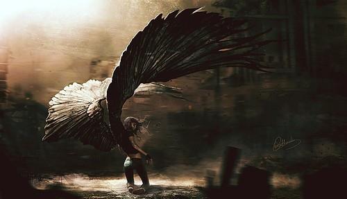 500x287 Angel, Angel Wings Bw Woman, Angels, Angle Blow,