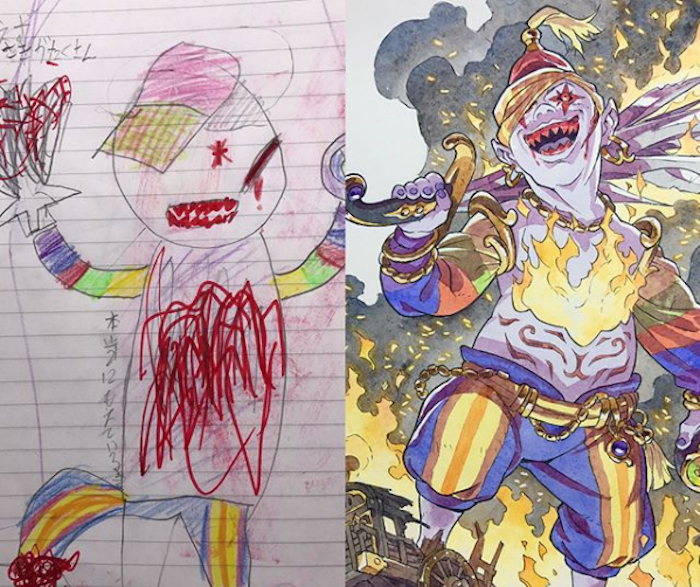 700x587 Dad Turns Son#39s Doodles Into Incredibly Detailed Anime Drawings
