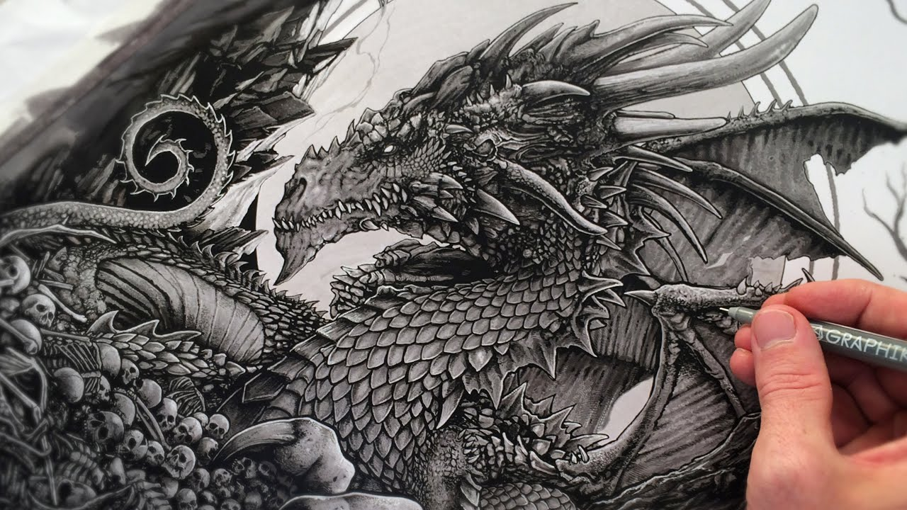 how to draw a detailed dragon