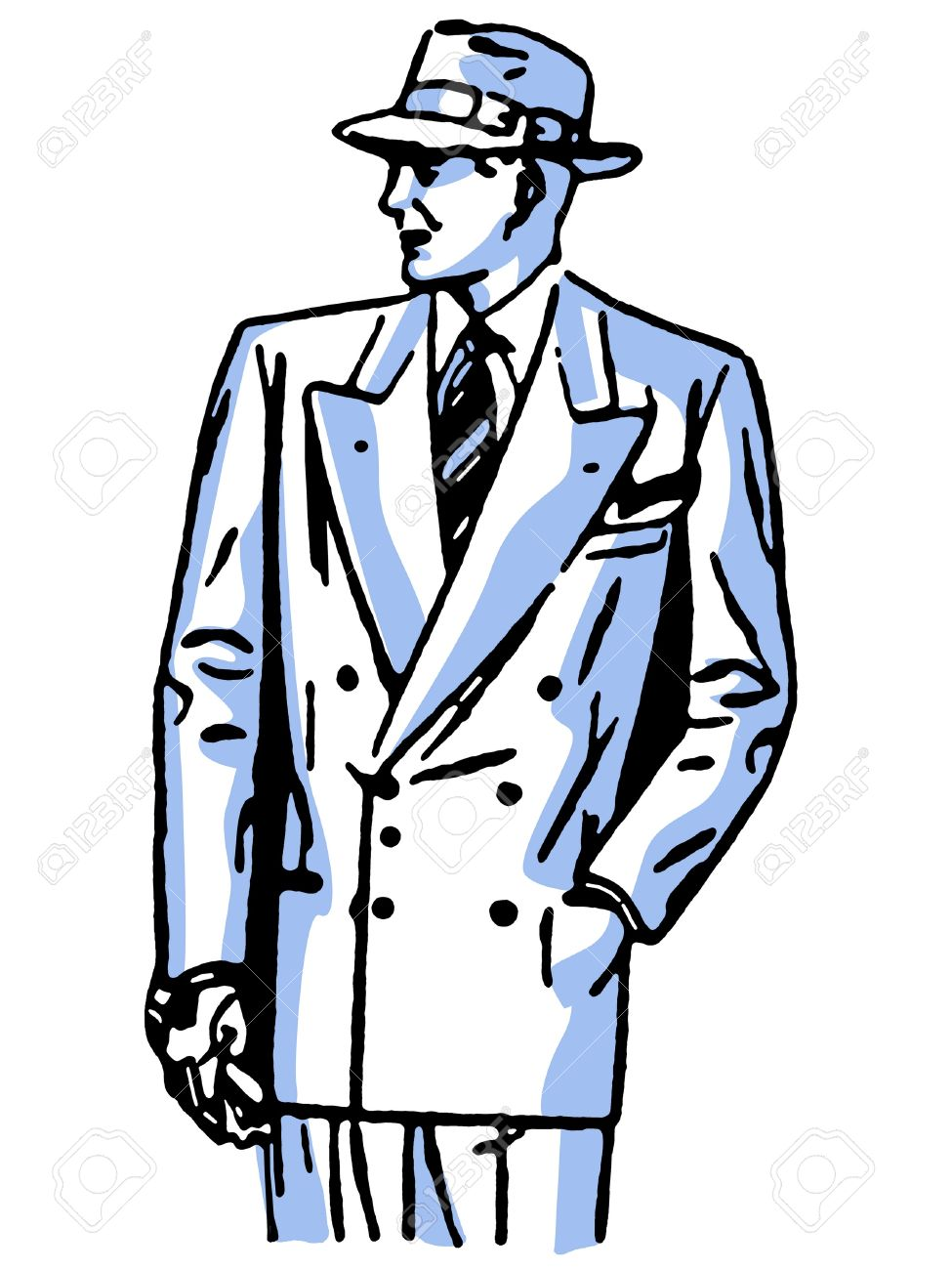 975x1300 A Graphical Drawing Of A Detective Character Banque D'Images Et
