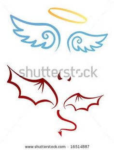 236x309 Cartoon Of Angel Halo And Wings, Devil Horns And Wings Raw