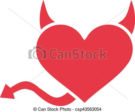 450x374 Heart With Devil Horns And Tail Clipart Vector