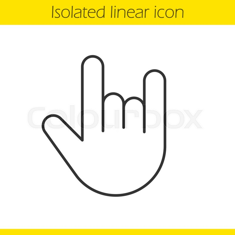800x800 Heavy Metal Gesture Linear Icon. Thin Line Illustration. Devil