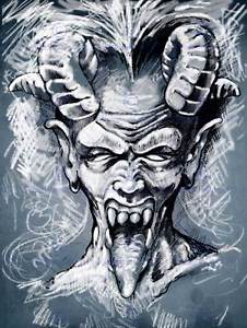 226x300 Painting Drawing Portrait Devil Demon Horns Tongue Art Print