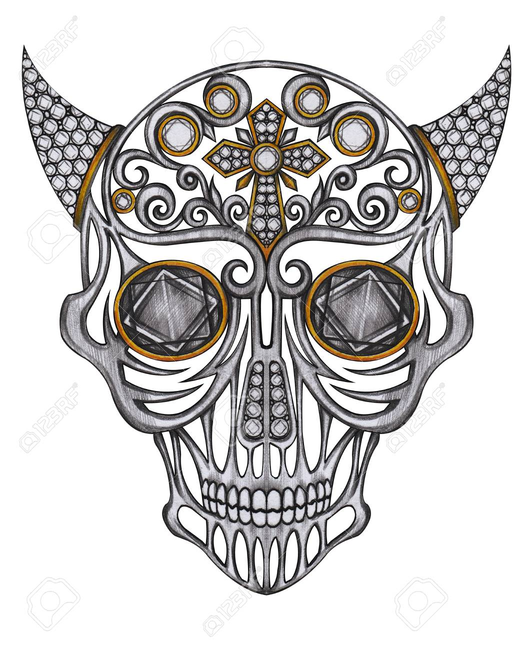 1064x1300 Art Graphic And Gems Mix Devil Skull. Hand Pencil Drawing
