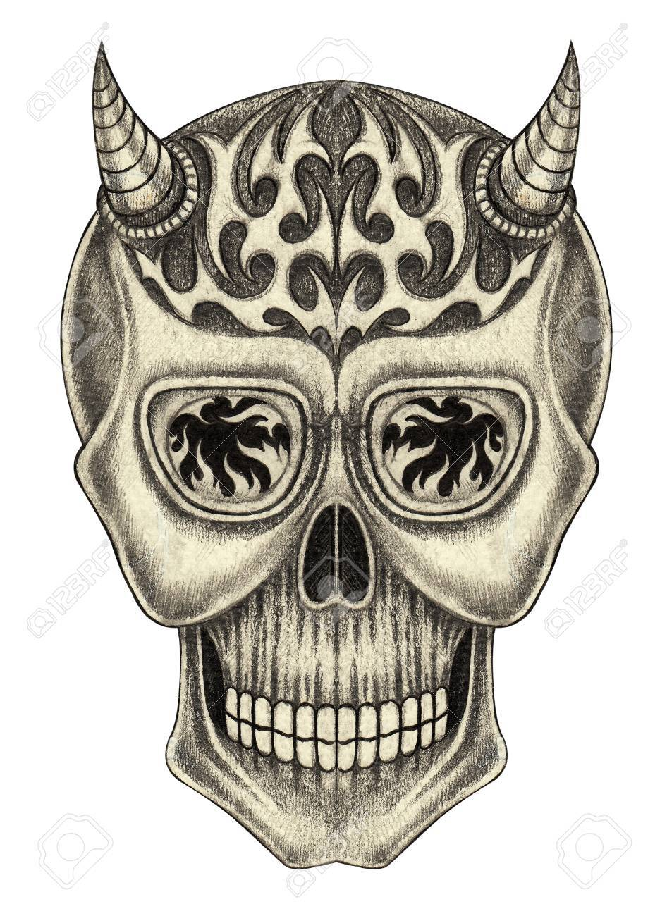 946x1300 Skull Devil Tattoo.hand Pencil Drawing On Paper. Stock Photo