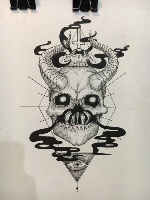 600x800 Satan Tattoo Skull Smoke Vape Bane Drawing Illuminati Satanic