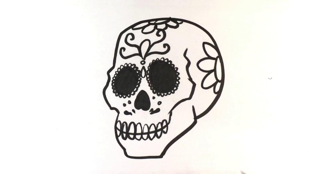 1280x720 How To Draw Dia De Los Muertos Skull