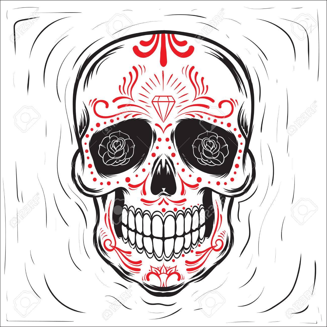 1299x1300 Mexican Sugar Skull. Dia De Los Muertos Day Of The Dead Block