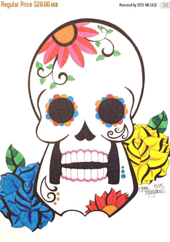 570x812 Sugar Skull Drawing, Day Of The Dead Artwork, 9x12 Inch Skull Art