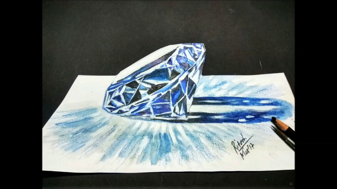 1280x720 How To Draw 3d Diamond How To Draw A 3d Amethyst Gemstone 3d