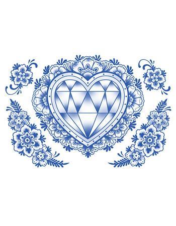 350x450 Delft Diamond Heart And Flowers Tattooednow! Ltd.