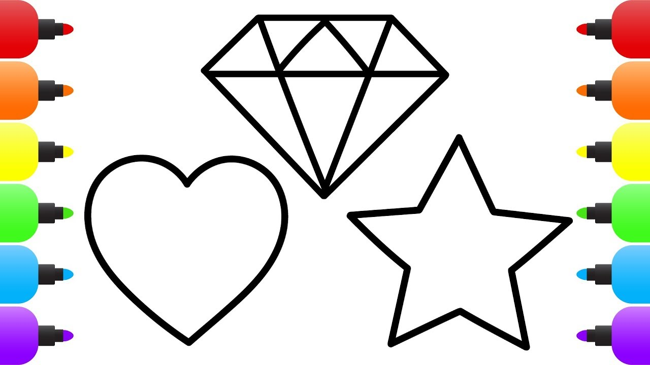 1280x720 Diamond Heart Star How To Draw Coloring Drawing For Kids Learn