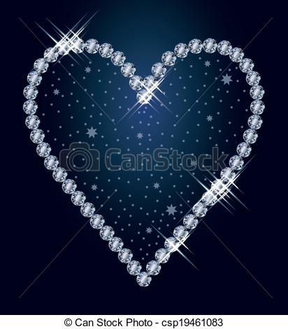 412x470 Diamond Heart, Vector Illustration Vector
