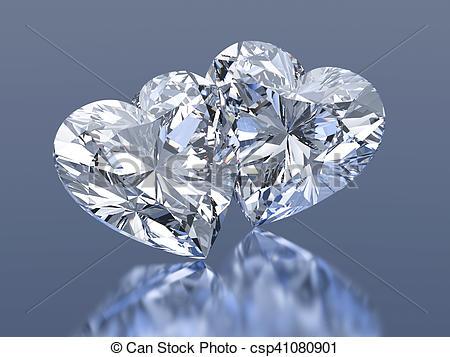 450x357 Group Of 2 Diamonds Hearts Stones Stock Illustration
