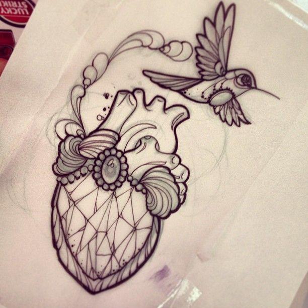 612x612 Tattoo By M1ss Juliet Of Instagram Diamondheart Hummingbird