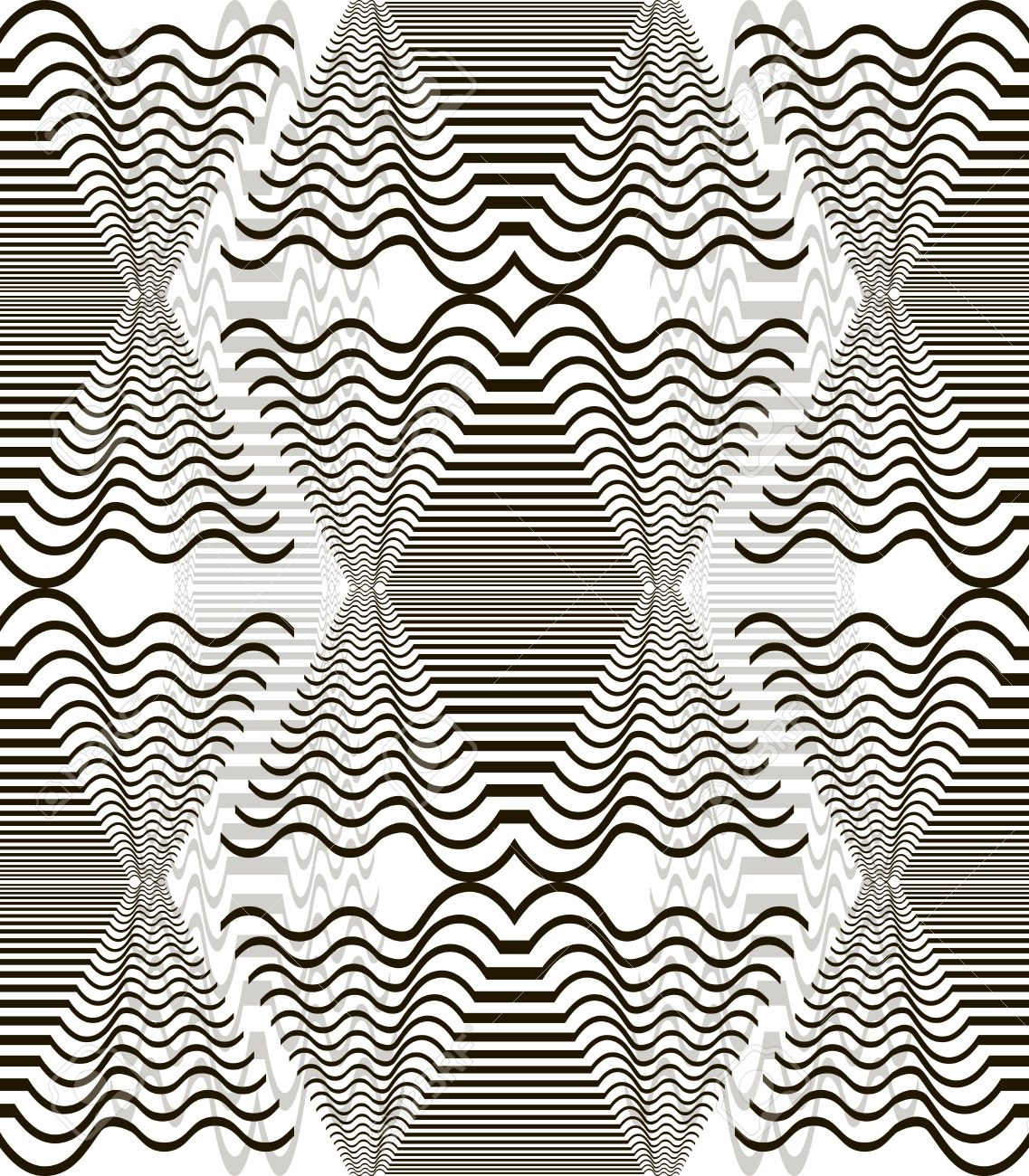 1137x1300 Seamless Pattern Of Wavy Elements. Horizontal Lines Forming
