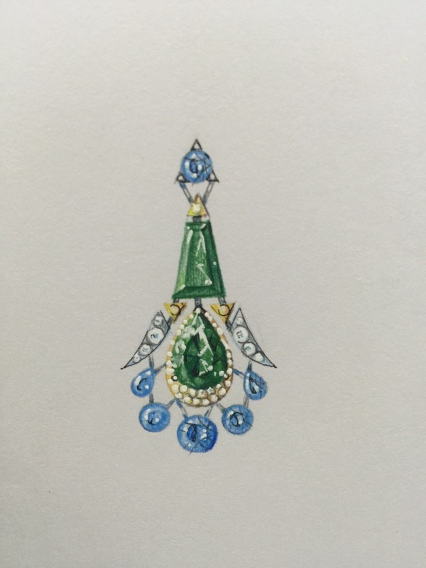 600x800 Tropical Dreams Earring Concept. Emerald, Topaz, Diamonds. Exotic