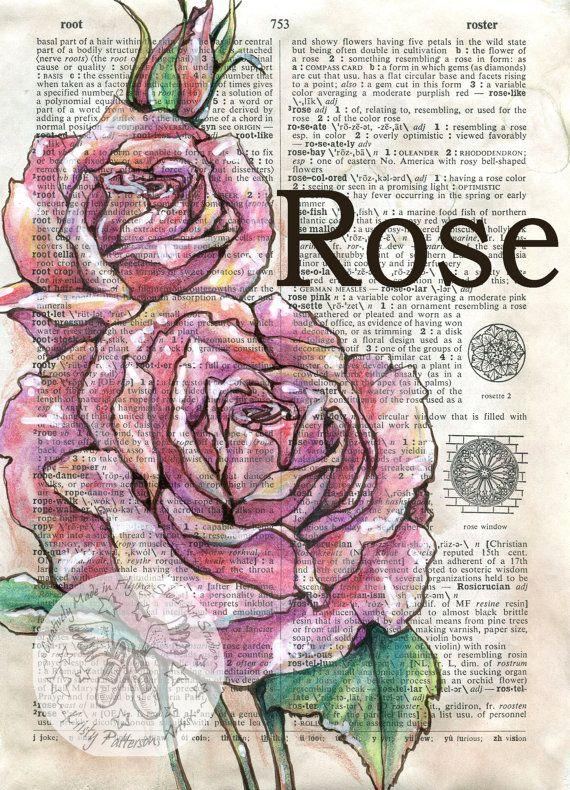 570x790 Druck Rose Mischtechnik Zeichnung Auf Distressed,