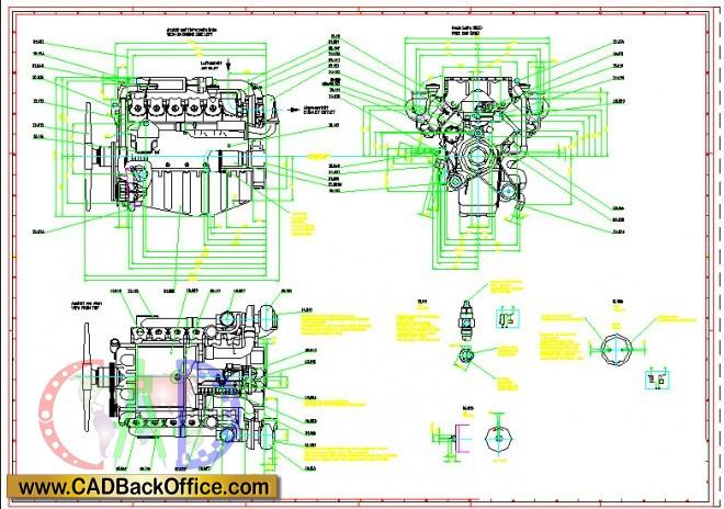 660x464 Diesel Engine 2d Drawings
