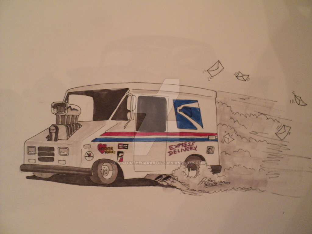 1024x768 Us Postal Service Truck Hot Rod Drawing By Prestonthecarartist