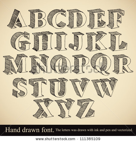 450x470 Hand Drawn 3d Font Vector Alphabet Vintage Style By Goldenarts