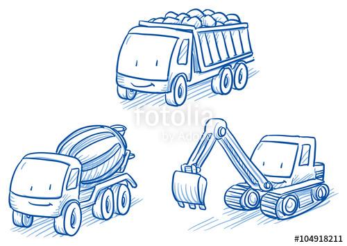 500x354 Cute Set Of Construction Set Vehicles, Cars, Trucks, Digger, Crane
