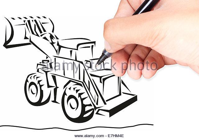 640x447 Digger Drawing Sketch Stock Photos Amp Digger Drawing Sketch Stock