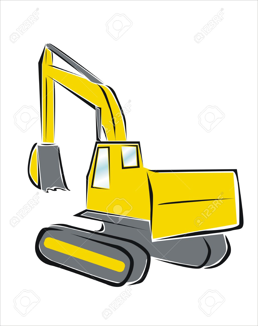 1027x1300 Drawing Of A Yellow Excavator Royalty Free Cliparts, Vectors,