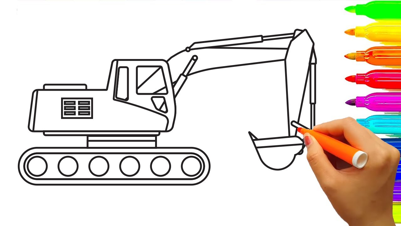 1280x720 How To Draw Excavator Truck Coloring Pages, Learn Colors For Kids