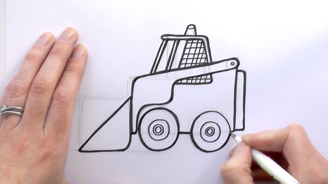 1280x720 How To Draw A Cartoon Bobcat Digger