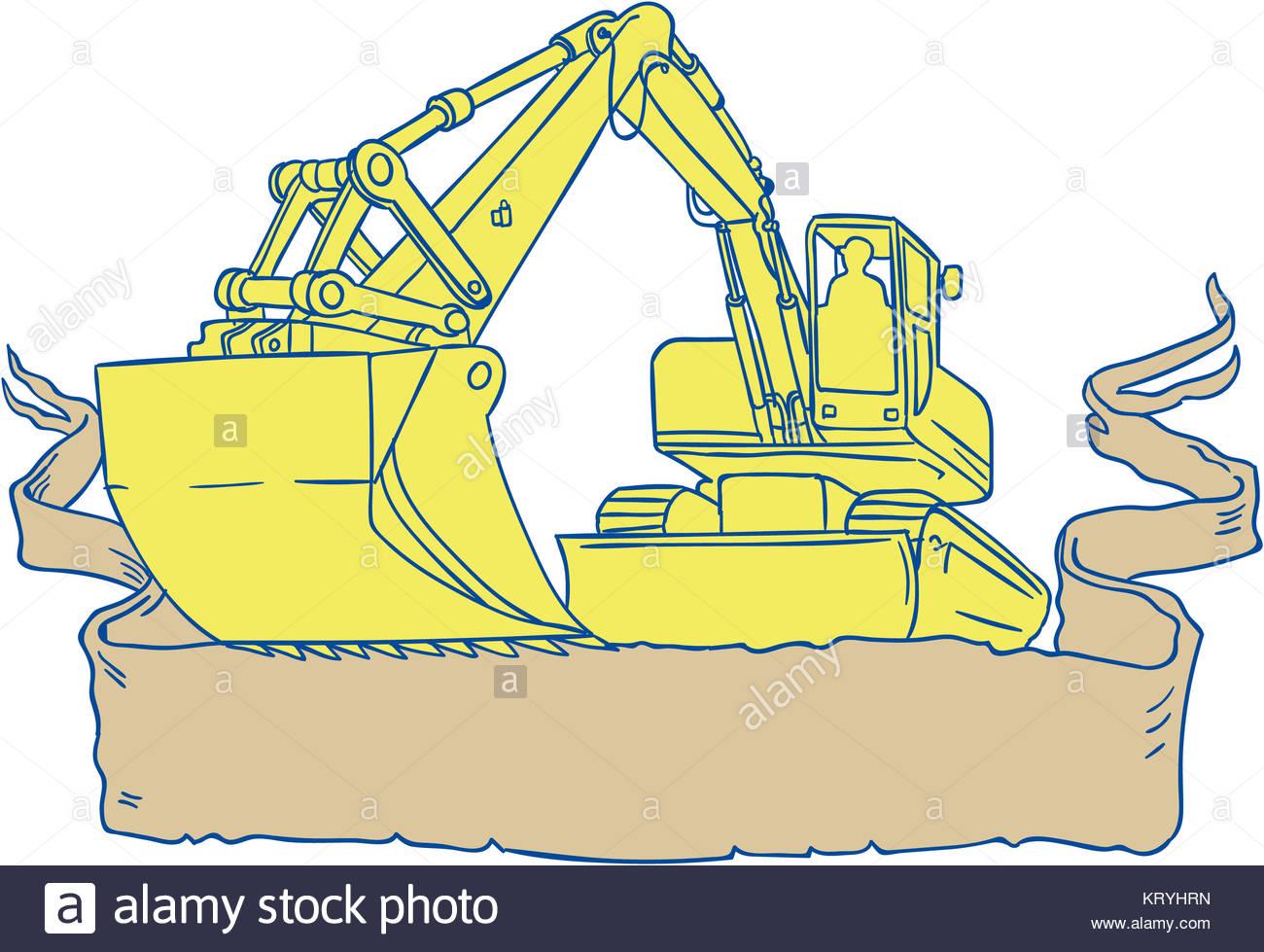 1300x979 Mechanical Digger Excavator Ribbon Scroll Drawing Stock Photo