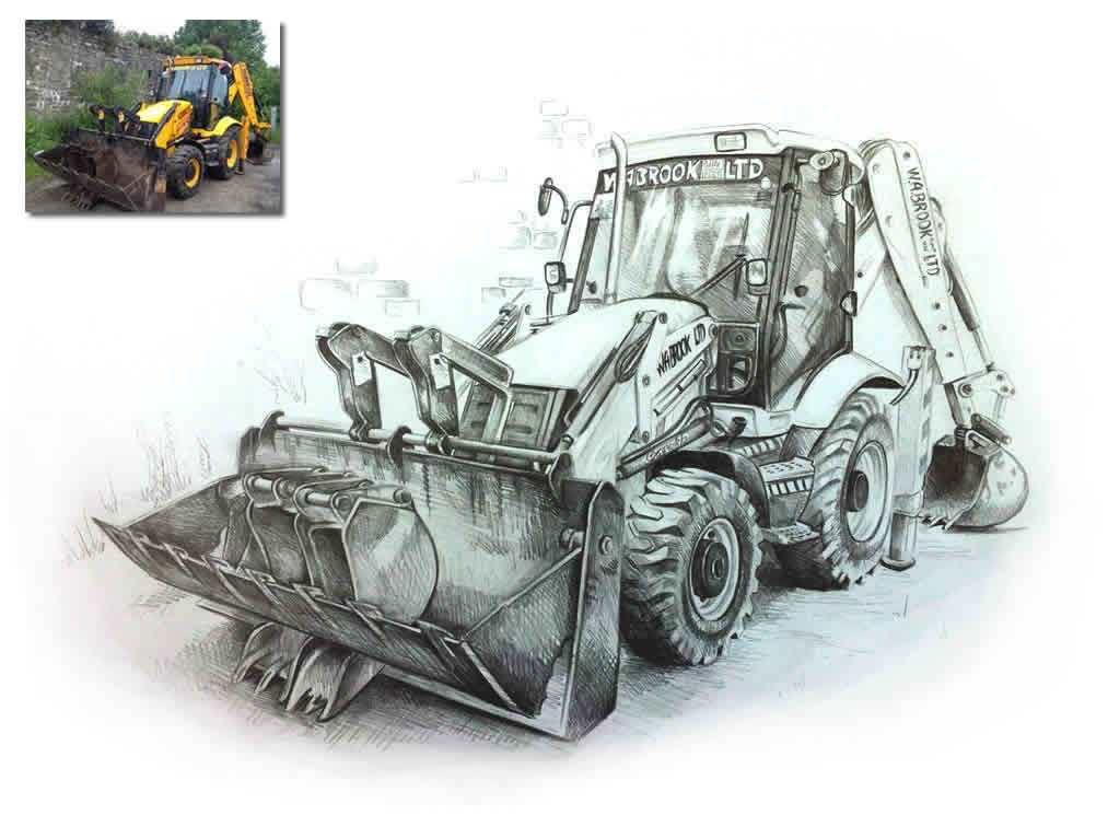 1013x756 Digger Drawing Commission Hand Drawn Portraits