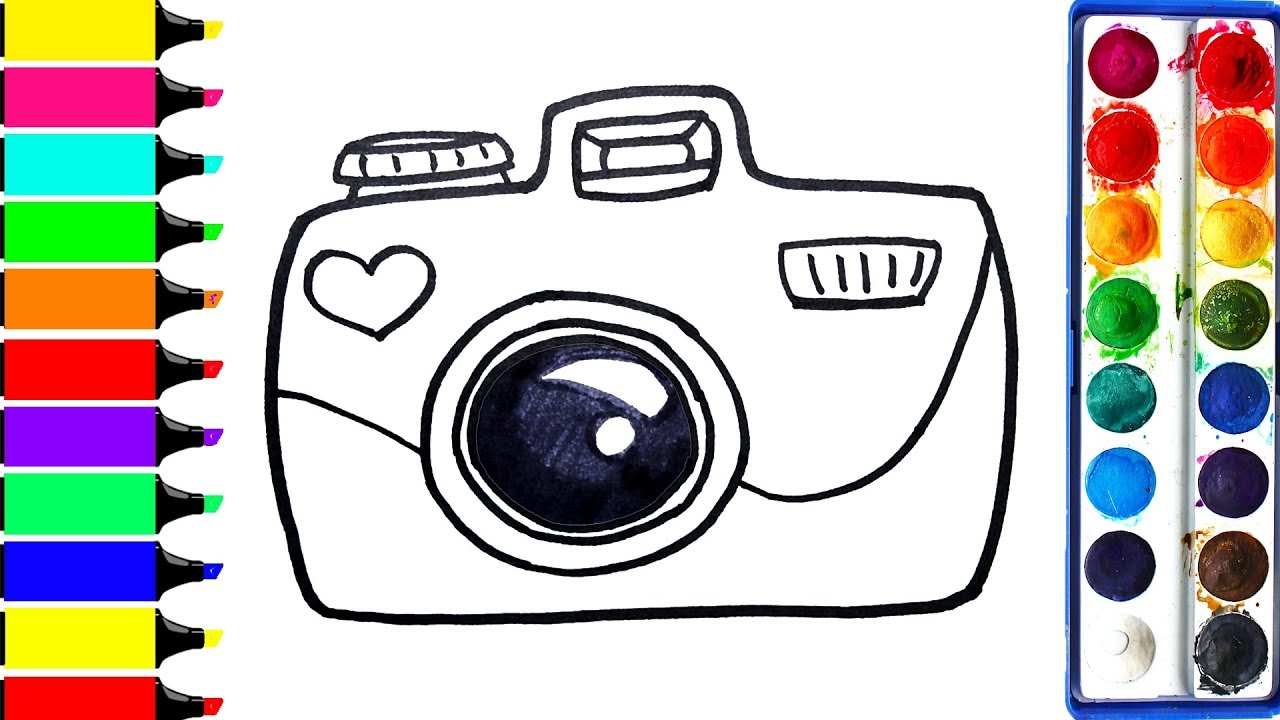 1280x720 Digital Camera Coloring Pages Drawing Dslr Art Colors For Kids