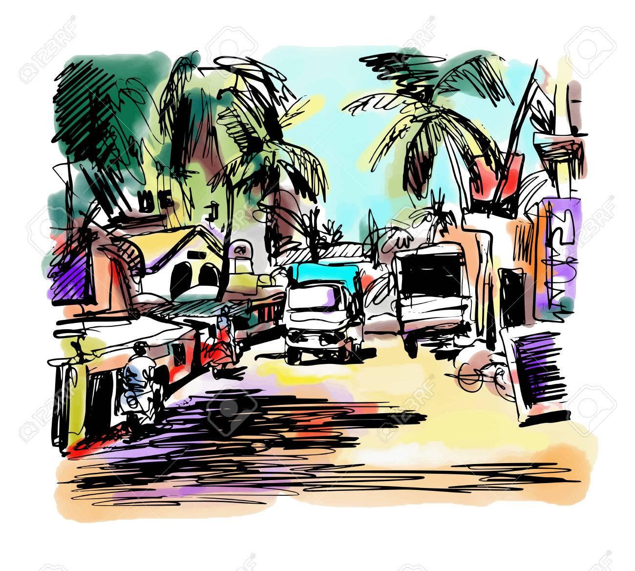 1300x1169 Original Digital Drawing Of India Goa Calangute Baga Landscape