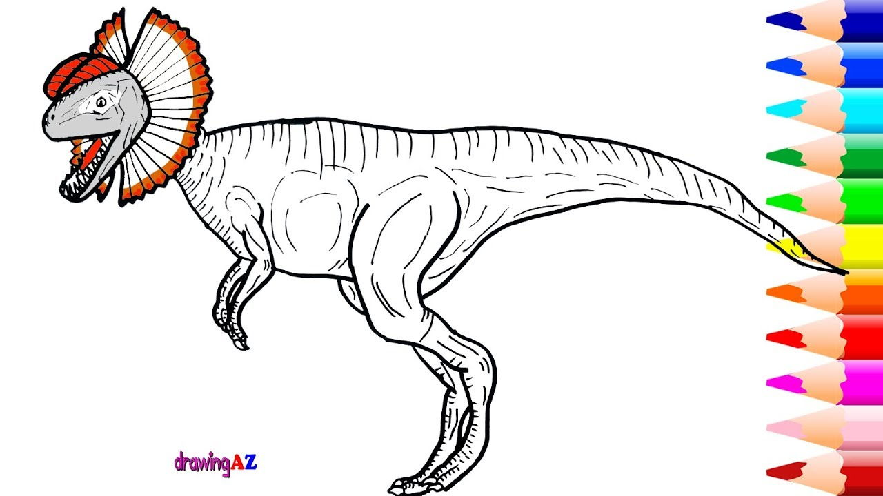 1280x720 Drawing And Coloring Dilophosaurus Dinosaur In Jurassic World