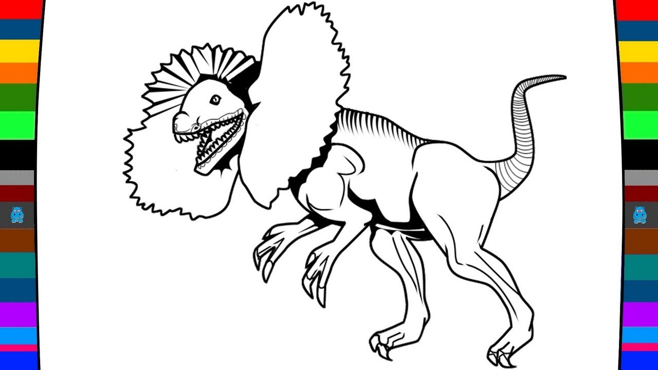 1280x720 Wild Animal Coloring Page How To Draw A Dilophosaurus Dinosaur