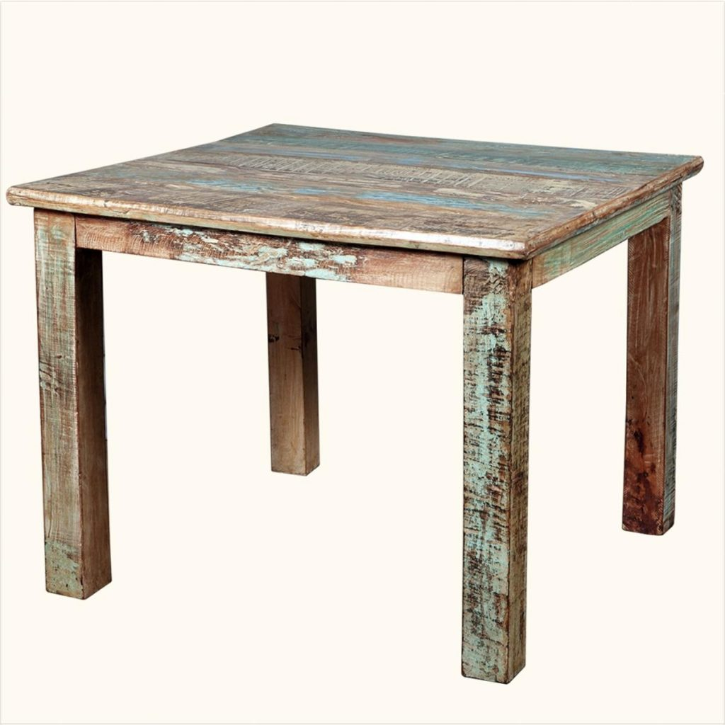 1024x1024 Top Square Reclaimed Wood Distressed Dining Table For Small Space