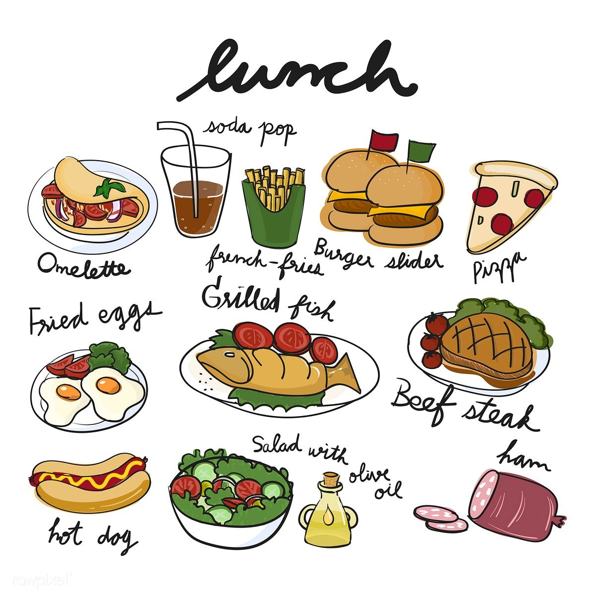 1200x1200 Illustration Drawing Style Of Food Collection Vector Inspiration