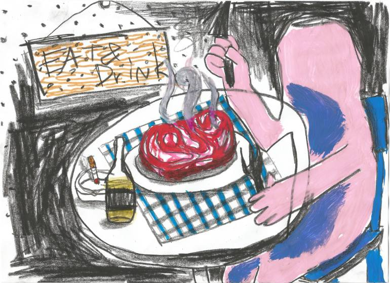 770x559 Saatchi Art Dinner Drawing By Warit Theingwong