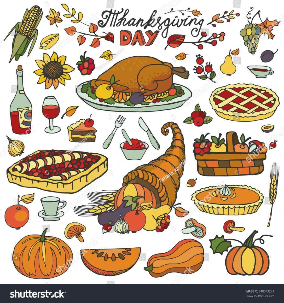 1185x1264 Thanksgiving Dinner Food Drawing Day Iconsdoodle Food Setautumn