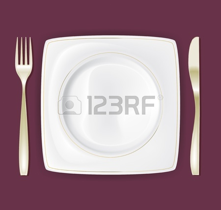 450x428 Empty Dinner Plate, Drawing The Knife And Fork Set 3 Royalty Free