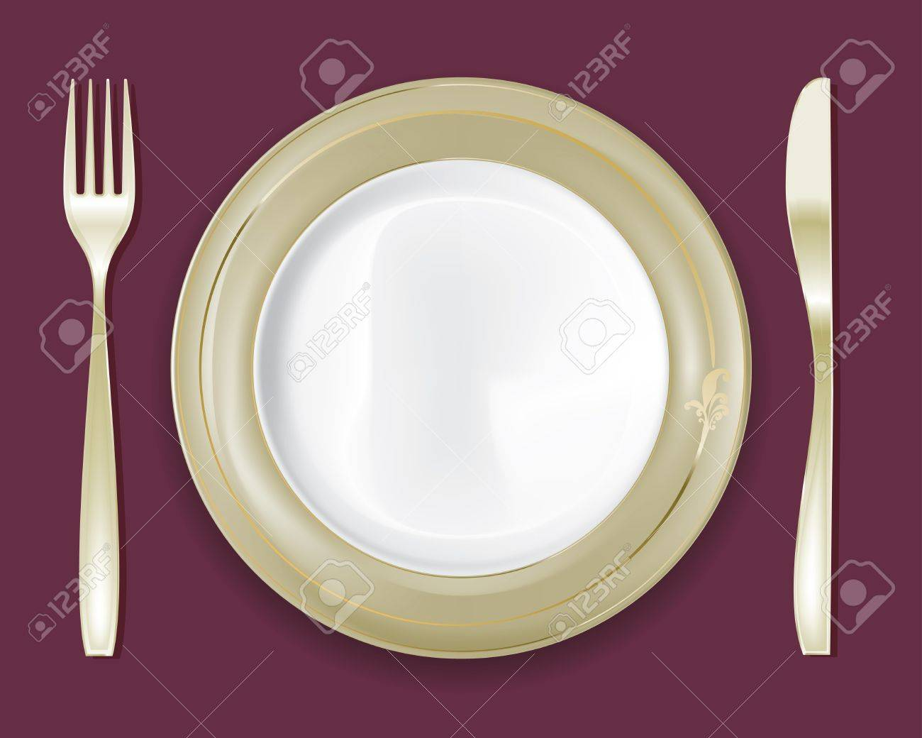 1300x1040 Empty Dinner Plate, Drawing The Knife And Fork Set Royalty Free