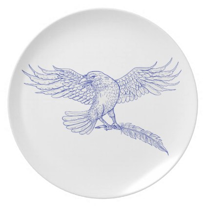 422x422 Raven Carrying Quill Drawing Dinner Plate Quill